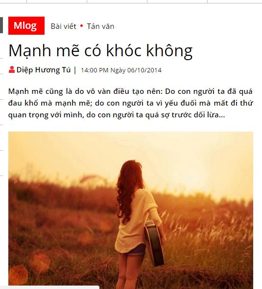 Bài đăng trên Mlog năm  2014