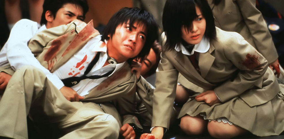 A scene from Kinji Fukasako's classic cult film BATTLE ROYALE, opening August 10 at SF Film Society Cinema.